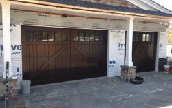 Custom wood garage doors in sapele mahogany