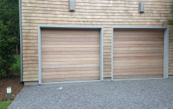 Custom clear western red cedar garage doors