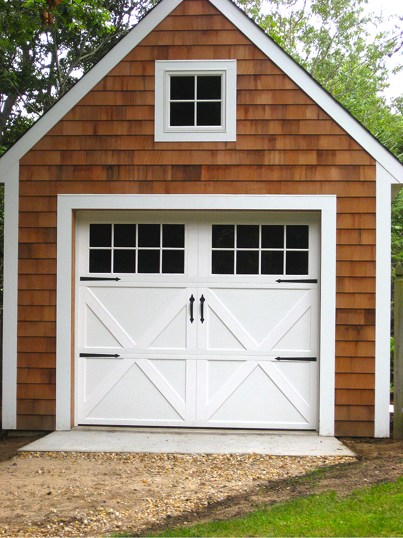Steel carriage house garage doors aj garage door long for Carriage house garages