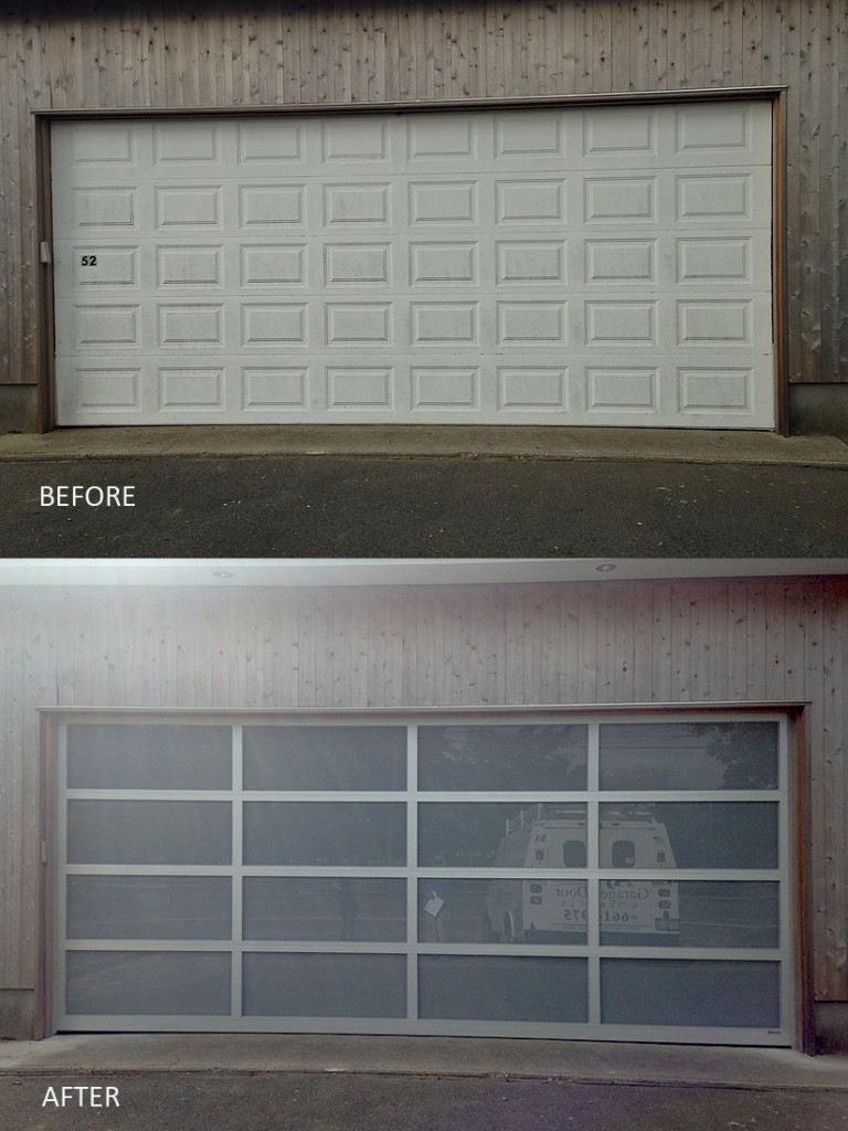 Aluminum garage doors before and after