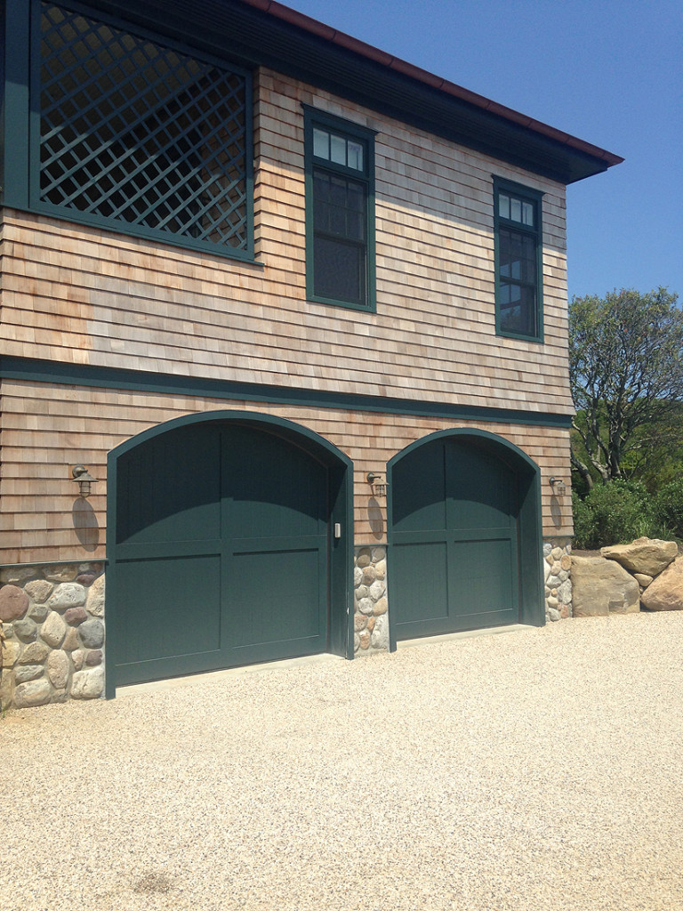Custom wood arched garage doors
