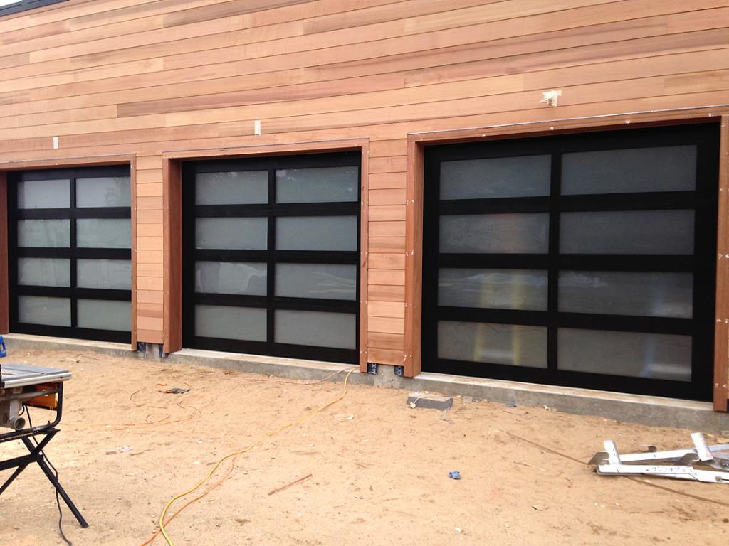 Custom Wood Garage : One of a kind custom wood frame frosted glass aj